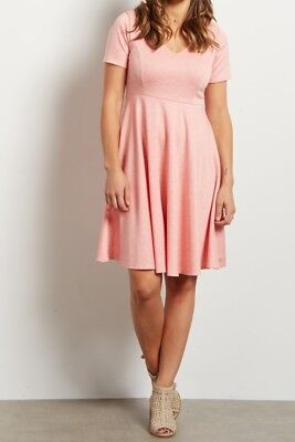 NWT Pink Blush Solid V-Neck Flare Short Sleeve Dress Coral -  Small  #501847