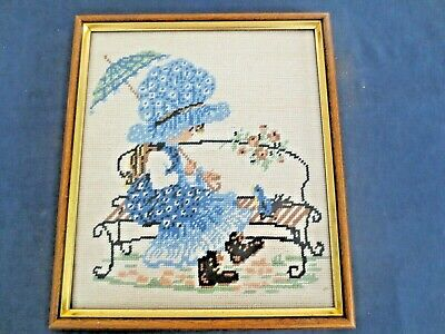 Holly Hobbie Craft Tapestry Blue Outfit Completed And Framed