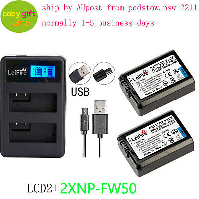 LeiFire 1950mAh Battery (2-Pack) & Dual USB Charger for Sony NP-FW50 Alpha BYAU