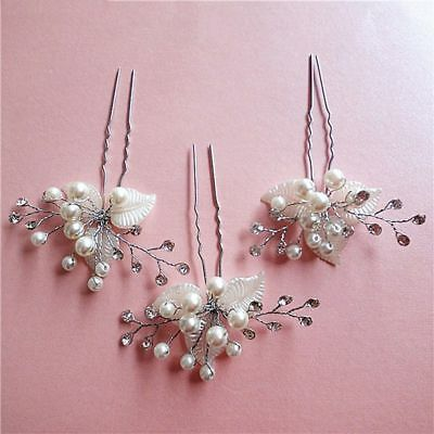 Rhinestone Bridesmaid Wedding Bridal Silver Leaf Hairpin Hair Jewelry 1Pc