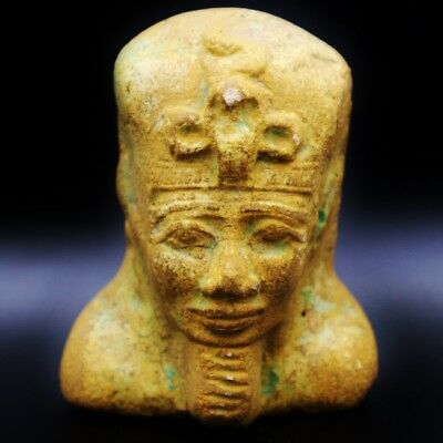 Amazing Antique Egyptian Faience of Ancient Pharaoh Bust Figure..Large