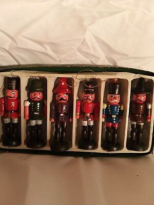 6 Vintage toy soldier ornaments beautiful old wooden set includes box