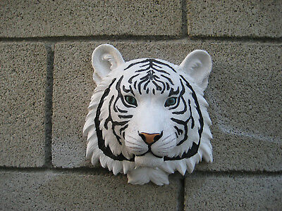 White Bengal Tiger Safari Hunter Wall Bust Sculpture  Figural Home Decor