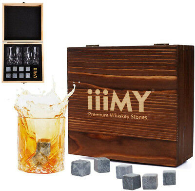 Whisky Stones and Glasses Gift Set, Whisky Rocks Chilling Stones in Handmade of