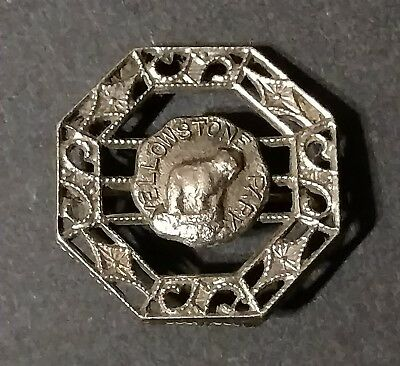 Vintage Yellowstone Park Brooch Pin Antique Costume