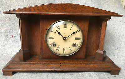 Antique Waterbury Clock Co.USA Arts & Crafts Style Mantle Clock c1910
