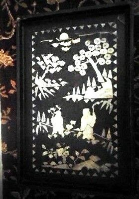 vintage oriental black wooden tray with mother of pearl inlay