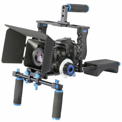 DSLR Camera Rig Video Cage Kit & Hand Grip & Follow Focus & Matte Box for Canon