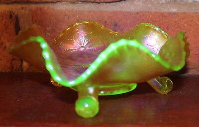 VASELINE CARNIVAL GLASS WATER LILY by FENTON
