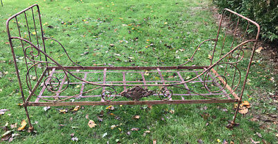 Small French Antique Iron Folding Daybed - Scarab Plaque