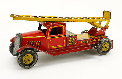 WELLS M141 Blech Feuerwehr 30's Vintage Tin Toy Fire Engine Truck
