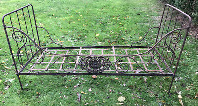 Wonderful French Antique Wrought  Iron Folding Daybed - Rococo Shell Plaque