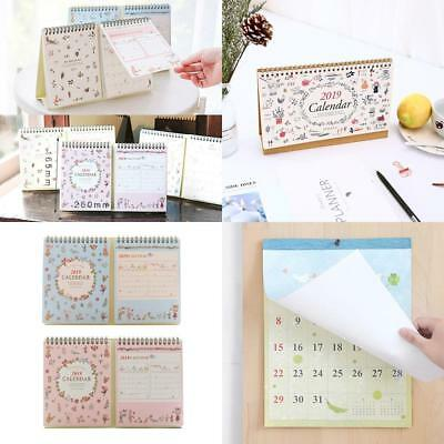 2019 Month To View Stand Up Desk Office Top Calendar Year Daily Planner Memo