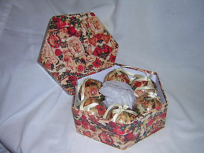Vintage Victorian Style Papier Mache Christmas Ornaments ~ Set of Six plus Box