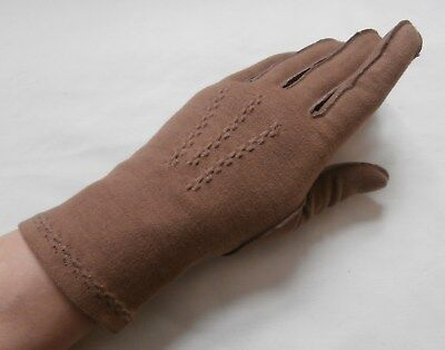 Vintage 1950's Taupe Brown Cotton Simplex Wrist Gloves Size 6 1/2, Small  VGC