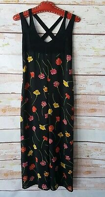 Vintage 70s black floral flower power sheer strappy loose jumpsuit all in one S
