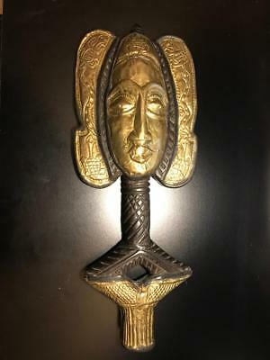 """19"""" African wood and metal mask hand made in Ghana"""