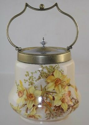 ANTIQUE ENGLISH BISCUIT JAR w/DAFFODILS CERAMIC TRANSFERWARE EPNS METAL