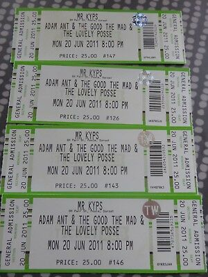 Adam Ant -  4 Tickets - Mr keys - Poole - Dorset 2011 Tour - Unused