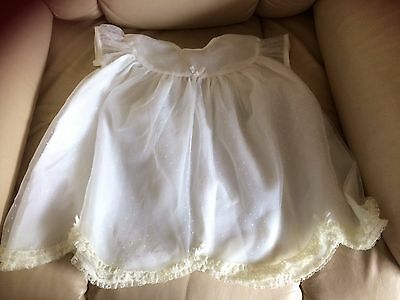 Kosiclad,Vintage,baby,white nylon dress, tiny spots,short sleeves,lined,retro