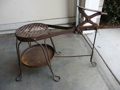 Original Vintage Wrought Iron Industrial Style 1 Piece Shoe Shine Stand & Seat
