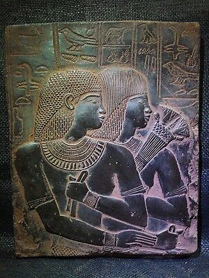 EGYPTIAN ANTIQUE ANTIQUITIES Ambassador Maya & Wife Stela Relief 1386-1349 BC