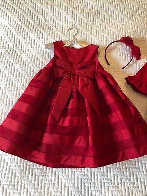 Gorgeous Janie & Jack Red Holiday Dress with Matching Red Coat 18-24 months