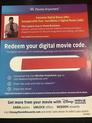 The Incredibles 2 Digital Movie Code Only
