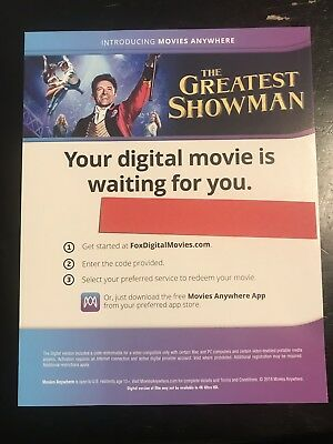 The Greatest Showman Digital Movie Code Only