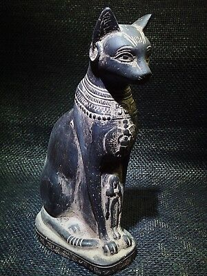 EGYPTIAN ANTIQUES ANTIQUITIES Seated Cat Bastet Ubaste Bast 2290–2670 BCE