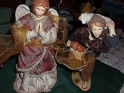 """Vintage Figurines of Boy with Lamb & Praying Angel 10"""" Tall"""
