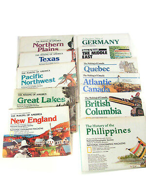 11 NATIONAL GEOGRAPHIC MAP SUPPLEMENTS, From the 1980s, 90s--Canada, Americas