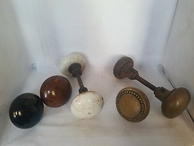 Vintage Lot of 7 Porcelain and Metal Door Knobs