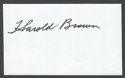 HAROLD BROWN Autograph Signed Index Card US Secretary of Defense (Jimmy Carter)