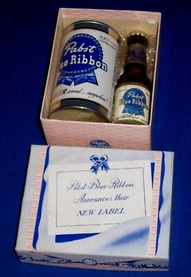 Pabst Blue Ribbon Beer NEW LABEL Bottle & Can Salesman Sample w/orig Box c1940s