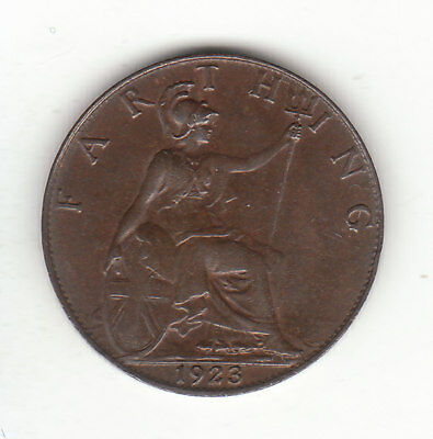 1923 Great Britain George V  1 One Farthing.  High Grade.