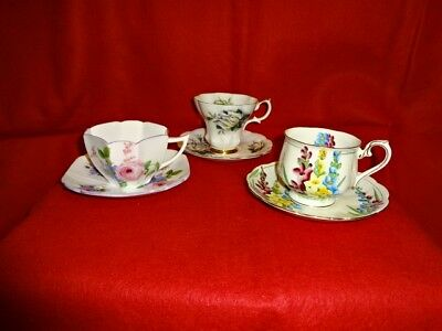 Lot of 3 Bone China Cups and Saucers - 1 Shelley, 2 Royal Albert, Floral, Ex. Co