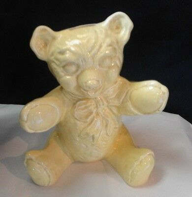 McCoy Pottery Vintage Yellow Teddy Bear Bank Estate Find