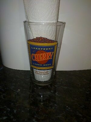 Lakefront Brewery Cherry Lager Pint Glass Milwaukee Wisconsin Beer