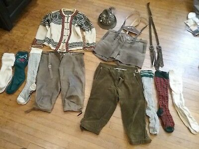 Authentic Lederhosen, wool sweater, walking hat and pins, two suspenders