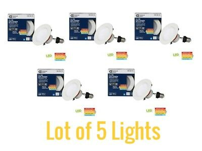Lot Of 5 Commercial Electric 4 Matte White Integrated Led Recessed