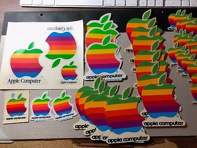 Apple Computer Logo Multi Color Stickers Vintage Rainbow, Large Collection
