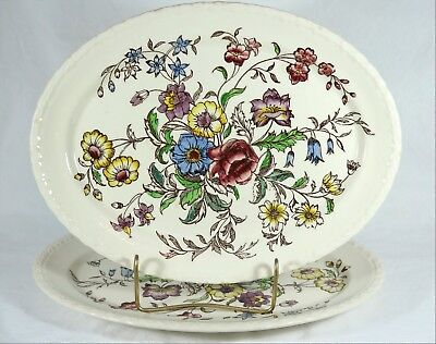 """VERNON KILNS """"May Flower"""" Pattern - Two 10-1/4"""" x 13-3/4"""" Serving Platters"""