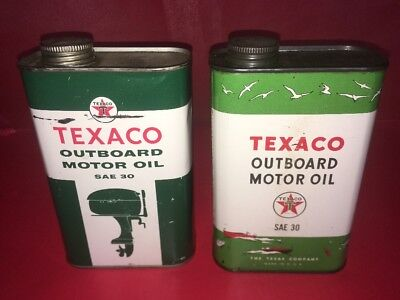 2 Vintage Texaco Outboard Oil Metal Can Advertising Sign Gas Boating Graphics