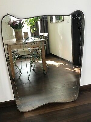 X-large Brass Mirror Italian 50s - original