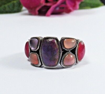 Sterling Silver 925 Purple Mohave Turquoise Multi Gemstone Cluster Size 8 Ring