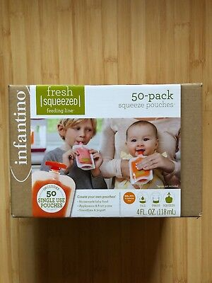 NIB Infantino 50 Pack Squeeze Pouches Homemade Baby Food Storage Feeding