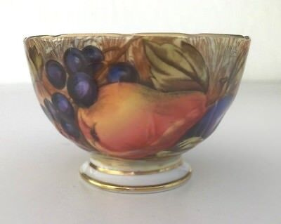 VTG AYNSLEY ORCHARD GOLD OPEN SUGAR BOWL HAND PAINTED SIGNED D. Jones - MINT!