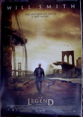 "I Am Legend 27"" X 40""  One Sheet Original Movie Poster Made In 2007"
