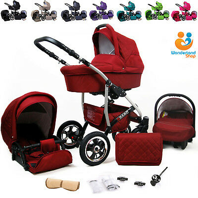 New Baby Pram Buggy Stroller 3in1 Car Seat Carrycot Newborn Travel System
